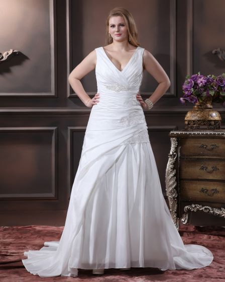 Satin Beading Applique V Neck Sweep Plus Size Bridal Gown Wedding Dress