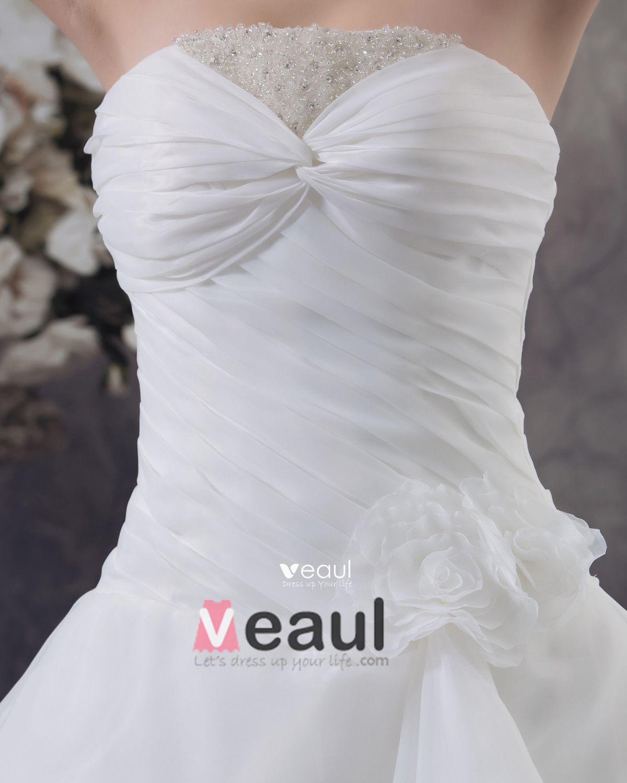 Satin Beading Ruffles Strapless Chapel A-Line Bridal Gown Wedding Dresses