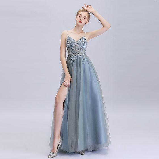 Affordable Ocean Blue Dancing Prom Dresses 2020 A-Line / Princess Spaghetti Straps Sleeveless Sequins Beading Split Front Floor-Length / Long Ruffle Backless Formal Dresses