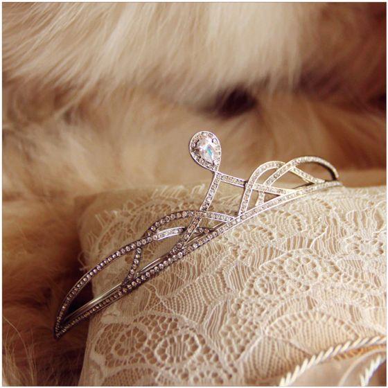 Classic Silver Tiara 2017 Rhinestone Metal Accessories Bridal Jewelry