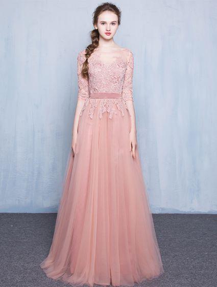 Elegantes Vestidos De Noche De Color Rosa 2016 Una Línea De Cuello Redondo De Encaje Apliques De Tul Vestido Largo De Color Rosa