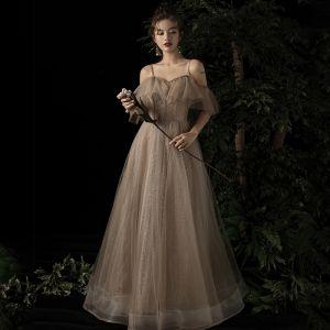 Elegant Champagne Evening Dresses  2019 A-Line / Princess Off-The-Shoulder Spaghetti Straps Short Sleeve Beading Glitter Tulle Floor-Length / Long Ruffle Backless Formal Dresses
