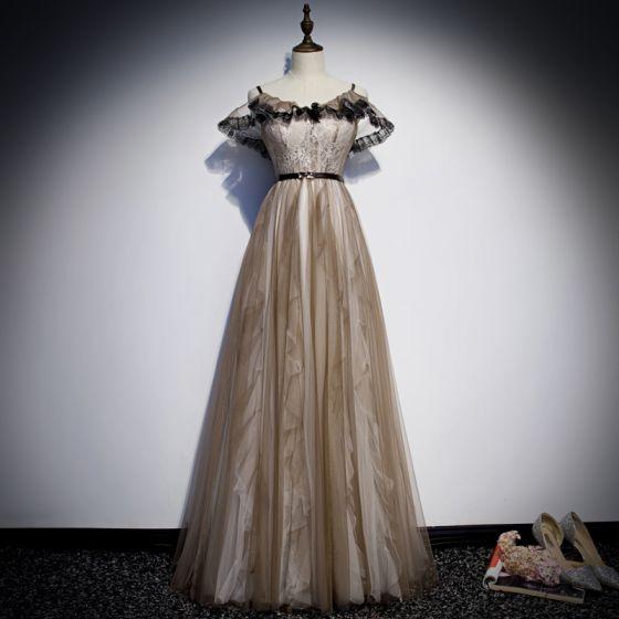 Chic Kaki Robe De Soirée 2019 Princesse Bretelles Spaghetti Ceinture En Dentelle Fleur Sans Manches Dos Nu Longue Robe De Ceremonie