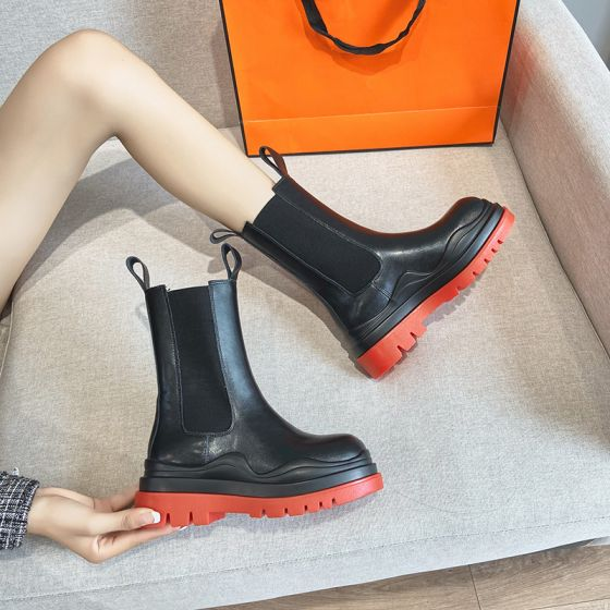 Modest / Simple Red Street Wear Flat Mid Calf Round Toe Womens Boots 2020