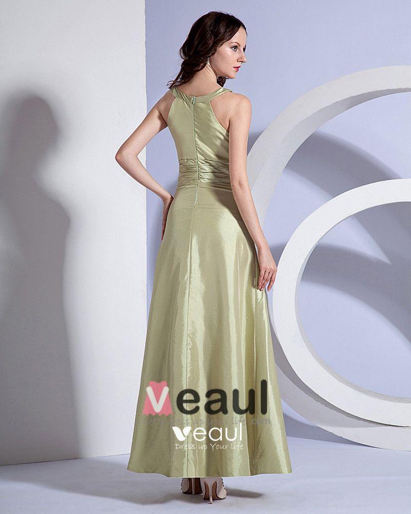 A-Line Holder Sleeveless Floor Length Taffeta Bridesmaid Dress