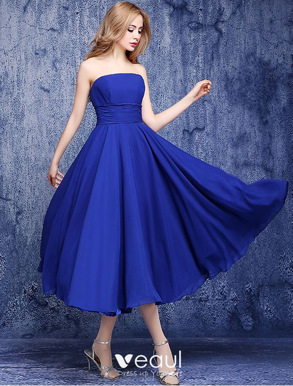 Simple Empire Strapless Backless Ruffle Chiffon Royal Blue Bridesmaid Dresses,Corset For Wedding Dresses