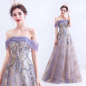 Encantador Morado Vestidos de gala 2020 A-Line / Princess Fuera Del Hombro Con Encaje Flor Glitter Lentejuelas Sin Mangas Sin Espalda Largos Vestidos Formales