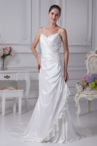 Charmeuse Shoulder Straps Chapel Sheath Bridal Gown Wedding Dress