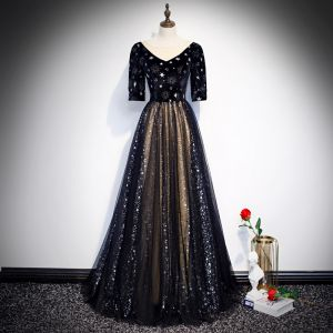 Vintage / Retro Black Evening Dresses  2020 A-Line / Princess See-through V-Neck Puffy 1/2 Sleeves Embroidered Glitter Star Tulle Floor-Length / Long Ruffle Formal Dresses
