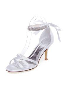 388e22f0511997 Sandales De Mariage Avec Bride Cheville En Strass Talons Aiguilles Peep  Toes Chaussures De Mariée
