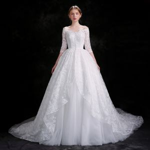 Chic / Beautiful White Wedding Dresses 2018 Ball Gown Buttons Lace Sequins Off-The-Shoulder 3/4 Sleeve Chapel Train Wedding