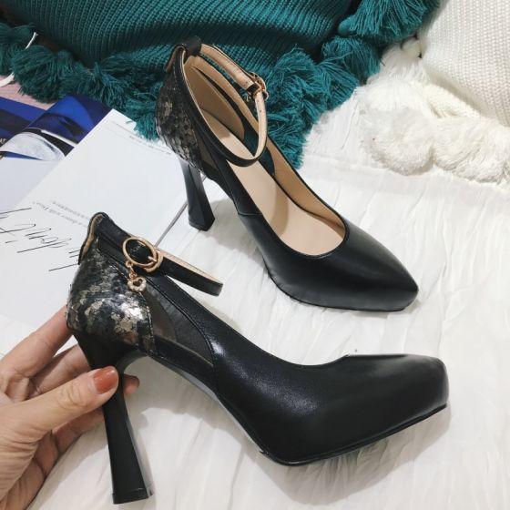 Moda Negro Noche Traspasado Tacones 2021 Cuero Correa Del Tobillo 10 cm Stilettos / Tacones De Aguja Punta Estrecha Tacones High Heels