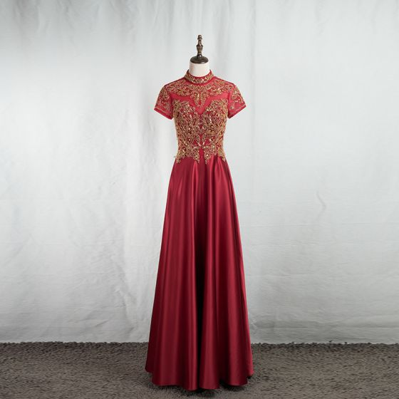 Vintage / Retro Chinese style Gold Lace Burgundy Evening Dresses  2020 A-Line / Princess High Neck Beading Sequins Short Sleeve Backless Floor-Length / Long Formal Dresses