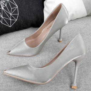 Classy Grey Evening Party Pumps 2019 Sash 10 cm Stiletto Heels Pointed Toe Pumps