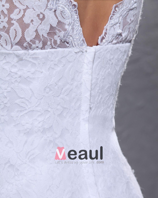 Elegant Satin Dentelle Col V Longueur Genou Mini Robe De Mariée Courte