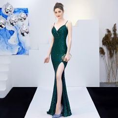 Sparkly Solid Color Dark Green Evening Dresses  2019 Trumpet / Mermaid Spaghetti Straps Sequins Sash Sleeveless Backless Split Front Floor-Length / Long Formal Dresses