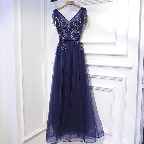 Hermoso Azul Tinta Vestidos Formales Vestidos de cóctel 2017 Con Encaje Flor Bowknot Lentejuelas V-Cuello Manga Corta La altura del tobillo A-Line / Princess