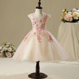 Chic / Belle Salle Robe Pour Mariage 2017 Robe Ceremonie Fille Rougissant Rose Princesse Mi-Longues Encolure Dégagée Sans Manches En Dentelle Fleur Appliques Perle