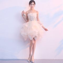 Chic / Beautiful Champagne Cocktail Dresses 2019 Ball Gown Strapless Sleeveless Appliques Lace Rhinestone Short Cascading Ruffles Backless Formal Dresses
