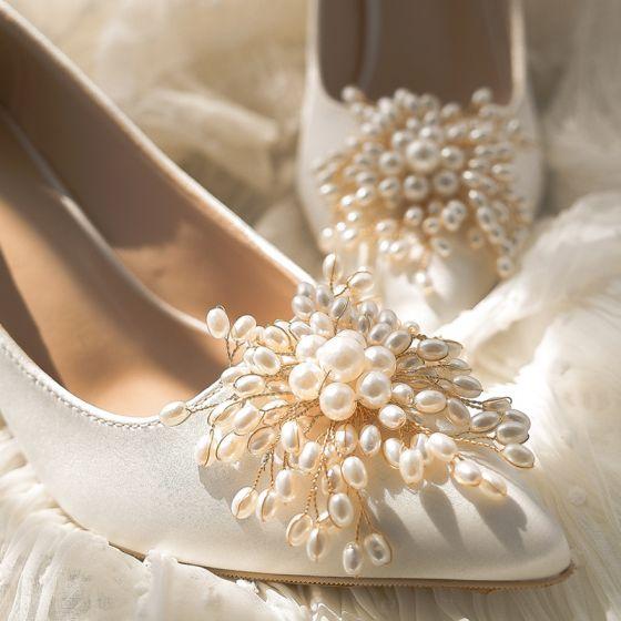 Elegante Schöne Ivory / Creme Satin Perle Brautschuhe 2020 Leder 9 cm Stilettos Spitzschuh Hochzeit Pumps