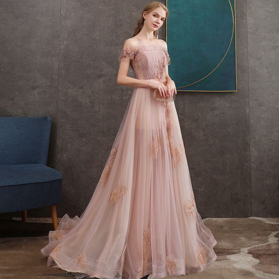 High-end Pearl Pink Evening Dresses  2020 A-Line / Princess Off-The-Shoulder Short Sleeve Appliques Lace Beading Sweep Train Ruffle Backless Formal Dresses
