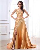 Elegant One Shoulder Beading Charmeuse Ruffle Evening Dresses
