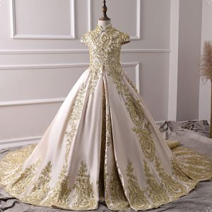 Vintage / Retro Champagne Satin Flower Girl Dresses 2019 A-Line / Princess High Neck Cap Sleeves Appliques Lace Rhinestone Court Train Ruffle Wedding Party Dresses