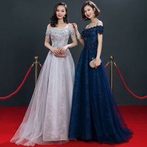 Chic / Beautiful Grey Navy Blue Evening Dresses  2019 A-Line / Princess Off-The-Shoulder Short Sleeve Appliques Lace Beading Sweep Train Ruffle Backless Formal Dresses