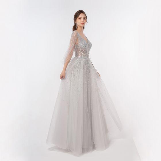 Iluzja Luksusowe Srebrny Taniec Sukienki Na Bal 2020 Princessa Głęboki V-Szyja Frezowanie Cekiny Długie Wzburzyć Bez Pleców Sukienki Wizytowe