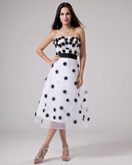 A-Line Strapless Tea-length Organza Beading Prom Dresses