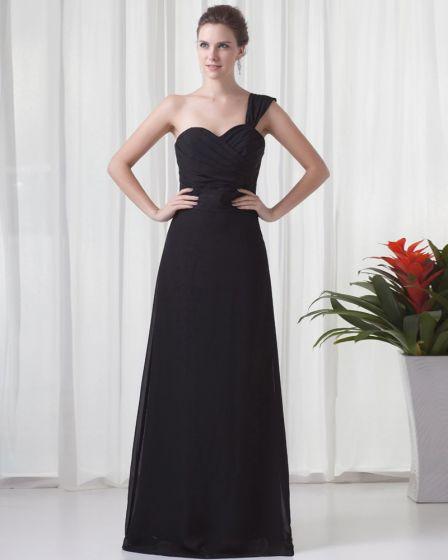 Fascinating One Shoulder Floor Length Pleated Chiffon Bridesmaid Dress
