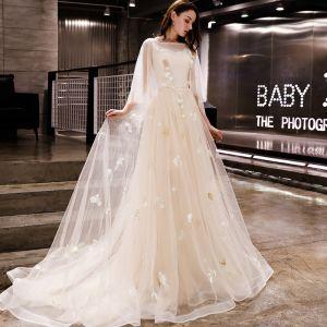 Modern / Fashion Champagne Evening Dresses  2019 A-Line / Princess Appliques Scoop Neck Backless Court Train Formal Dresses