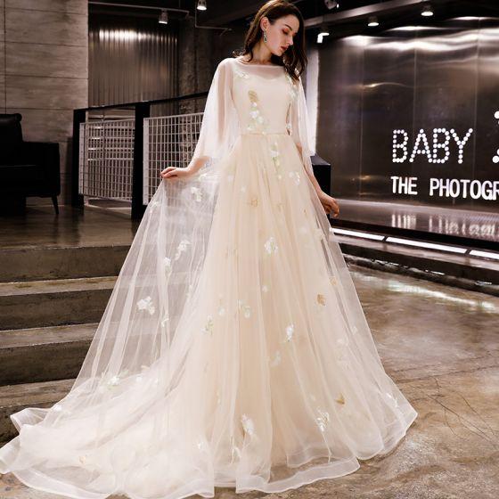 Modern Fashion Champagne Evening Dresses 2019 A Line Princess