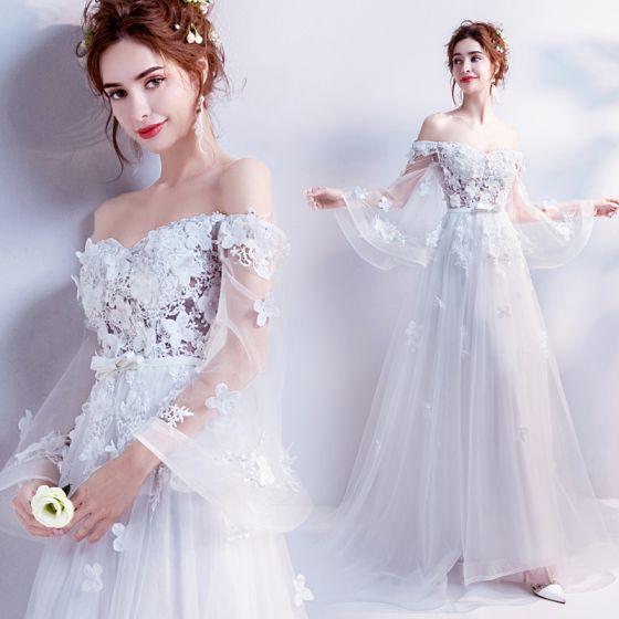 Piękne Białe 2017 Sukienki Wieczorowe Princessa Tiulowe Z Koronki Aplikacje Bez Pleców Frezowanie Bez Ramiączek Wieczorowe Sukienki Wizytowe