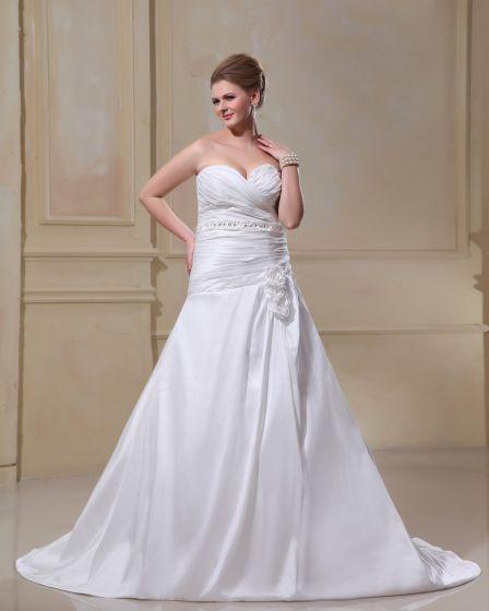 Taffetas Tribunal De Fleur Perlant Plus La Taille Robe De Mariage Nuptiale Robe
