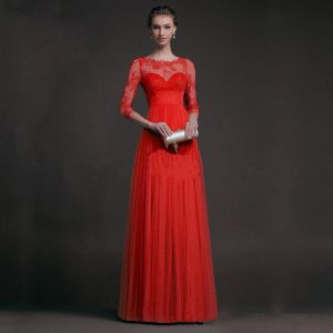 Sexy Red Floor-Length / Long Maxi Dresses 2018 A-Line / Princess 3/4 Sleeve Zipper Up U-Neck Lace Pierced Chiffon Fall Street Wear Womens Clothing