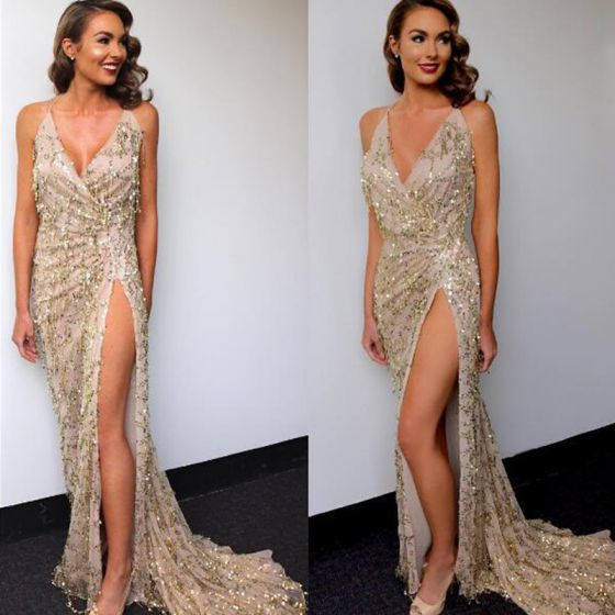 Sexy Beige Summer Maxi Dresses 2018 Trumpet / Mermaid Spaghetti Straps Sleeveless Sequins Split Front Sweep Train Ruffle Backless Women's Clothing