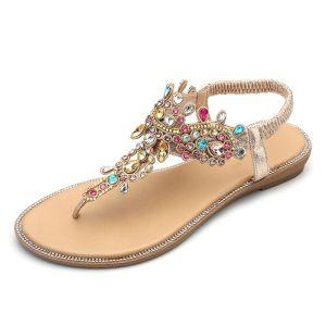 Mode Doré Désinvolte Plate Chaussures Femmes 2020 Multi-Couleurs Faux Diamant Daim T-Strap Pantoufle & Tongs