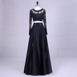 2 Piece Black Prom Dresses 2017 Scoop Neck A-Line / Princess Long Sleeve Appliques Lace Satin Formal Dresses