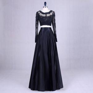 2 Piece Black Prom Dresses 2017 Scoop Neck A-Line / Princess Long Sleeve Appliques Lace Satin Formal Dresses