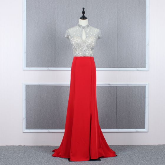 High End Rot Durchsichtige Abendkleider 2020 Meerjungfrau Stehkragen Ärmel Perlenstickerei Sweep / Pinsel Zug Rüschen Festliche Kleider