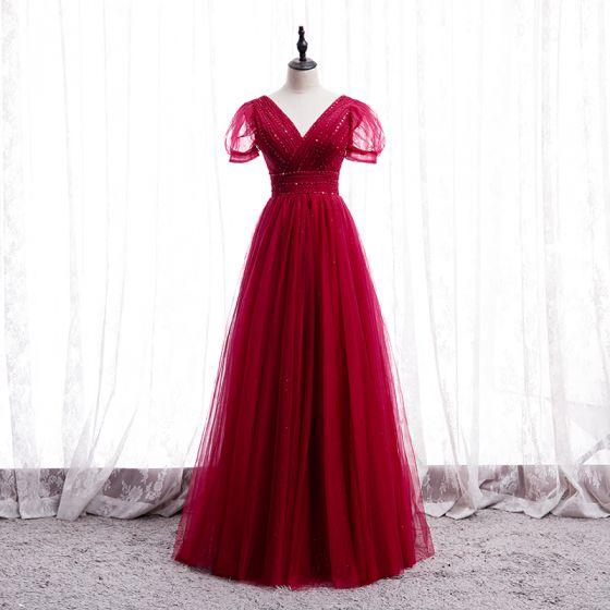Snygga / Fina Röd Dansande Balklänningar 2020 Prinsessa V-Hals Pösigt Korta ärm Beading Långa Ruffle Halterneck Formella Klänningar