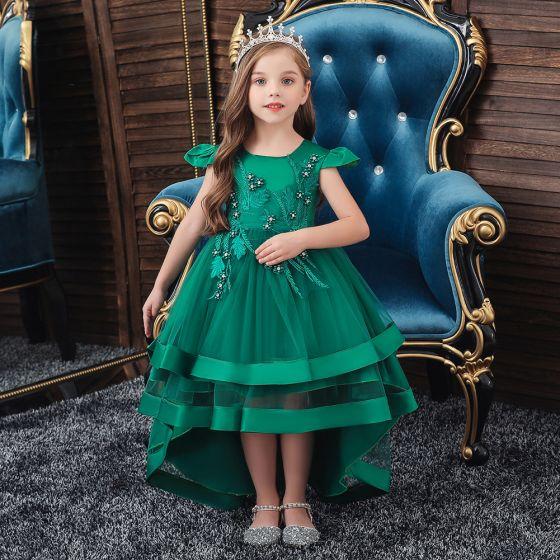 Vintage Dunkelgrün Geburtstag Blumenmädchenkleider 2020 Prinzessin Rundhalsausschnitt Ärmel Applikationen Spitze Asymmetrisch Fallende Rüsche