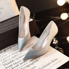 Modern / Fashion Silver Evening Party Pumps 2019 6 cm Stiletto Heels Pointed Toe Pumps