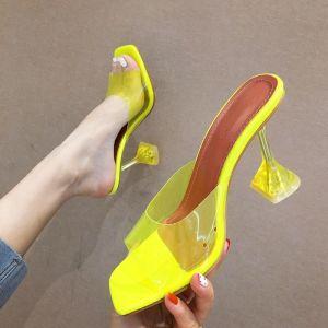 Piękne Żółta Przypadkowy Sandały Damskie 2020 Przezroczyste 8 cm Szpilki Peep Toe Czółenka