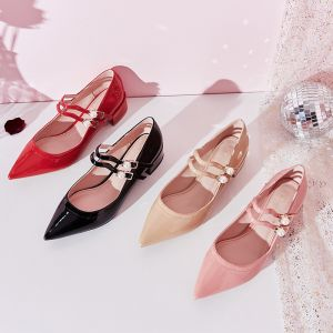 Lovely Pearl Pink Dating Womens Shoes 2019 Patent Leather Pearl Buckle 4 cm Low Heel Pointed Toe Pumps