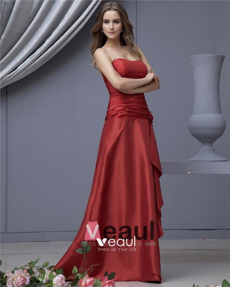 Taffeta Flower Sash Strapless Floor Length Bridesmaid Dresses