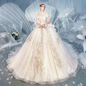 Vintage / Retro Champagne See-through Wedding Dresses 2019 Ball Gown High Neck Short Sleeve Backless Appliques 3D Lace Beading Chapel Train Ruffle