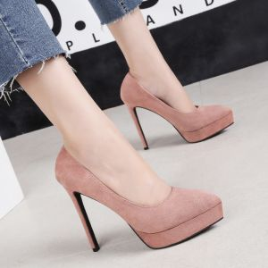Affordable Khaki Casual Pumps 2020 Suede 13 cm Stiletto Heels Pointed Toe Pumps