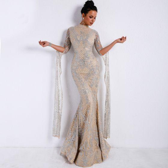 Vintage Silber Abendkleider 2020 Meerjungfrau Stehkragen Lange Ärmel Applikationen Pailletten Glanz Lange Rüschen Festliche Kleider